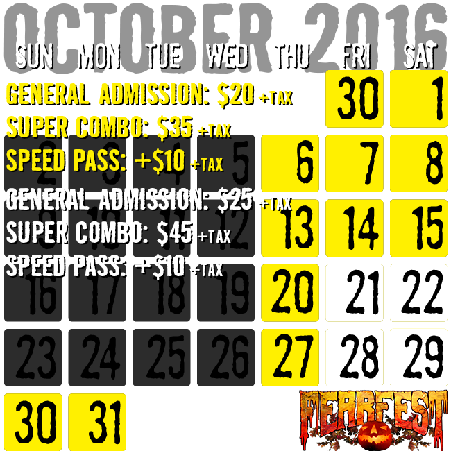 Prices for FearFest